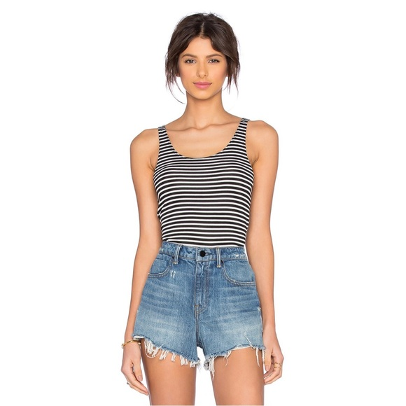 LNA Back Strap Striped Bodysuit Size S NWT